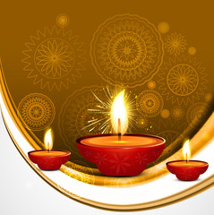 Abstract beautiful style diwali diya wave vector