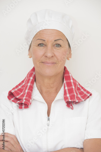 Mature woman cook confident pose