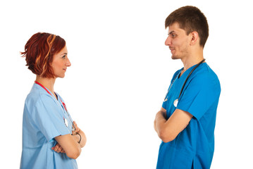 Young doctors having conversation