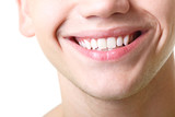 Fototapety Beautiful wide smile of young man with great healthy white teeth