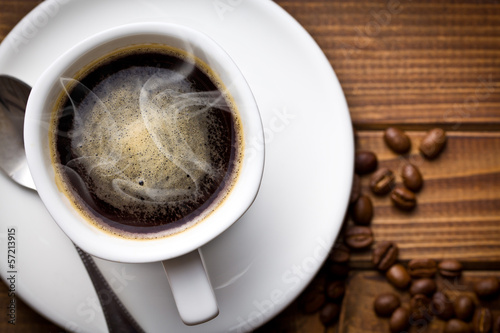hot black coffee in white cup