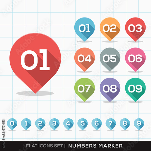 Numbers Pin Marker Flat Icons with long shadow Set for GPS or Ma