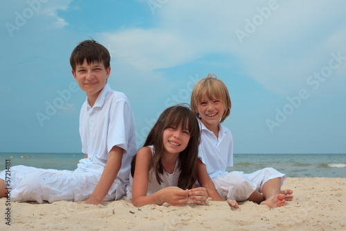 Children on sandy beach
