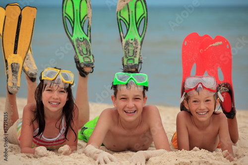 Children with swimming fins