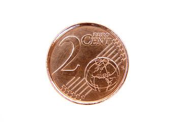 Pièce de 2 cents détourée sur fond blanc