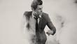 Portrait of running elegant man