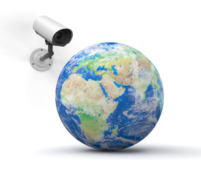 security camera and globe (Europe)