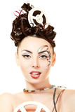 vitage woman with beautiful art film movie make-up and hairstyle