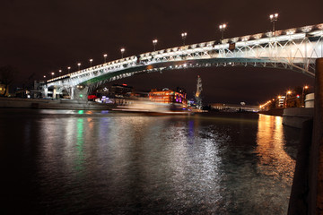 Beautiful Night View Moskva river with Patriarch Bridge in the s