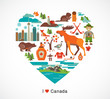 Canada love - heart with icons and elements - 57215911