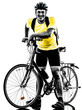 man bicycling  mountain bike standing silhouette