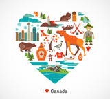 Canada love - heart with icons and elements