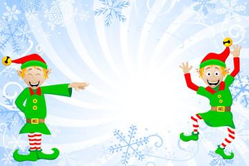 weihnachtlicher Hintergrund mit Weihnachtswichteln