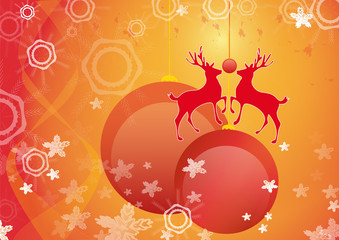 christmas decoration with reindeer and red baubles