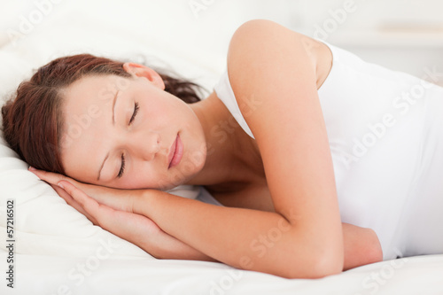 Close up of a sleeping beautiful woman