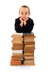 Wise Kid with old books