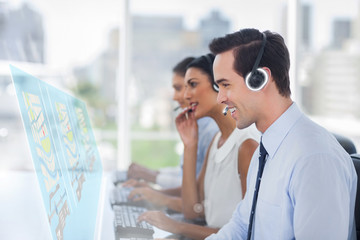 Call center employees at work on futuristic interfaces showing m