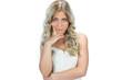 Unhappy seductive model in white dress