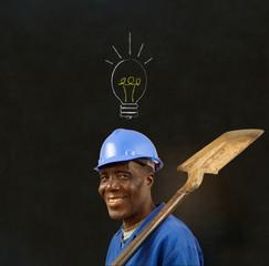 African American black man worker with chalk lightbulb