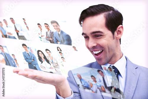 Pleased man admiring pictures