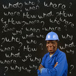 African American black man worker with chalk questions