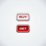 Buy and get push buttons, red and white
