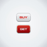 Modern buy and get push buttons, red and white