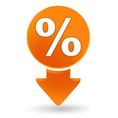 pourcentage sur signet orange