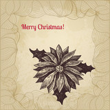Vintage vector Christmas card with hand drawn winterberry