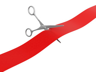 Scissors and Ribbon (clipping path included)