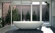 canvas print picture - Modernes Badezimmer mit Innenhof