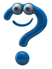 Illustration of happy blue question mark