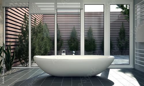 canvas print picture Modernes Badezimmer mit Innenhof