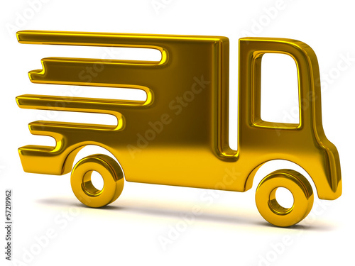 Golden illustration of delivery truck