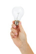 hand holding electric bulb