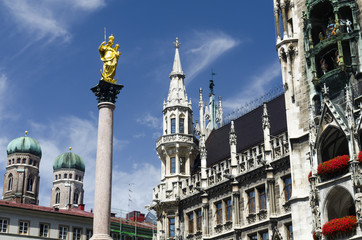 Virgin Mary column at the Marienplatz