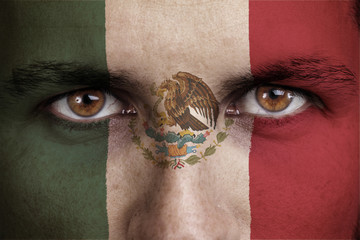 mexico, maxican flag painted on the face of young man
