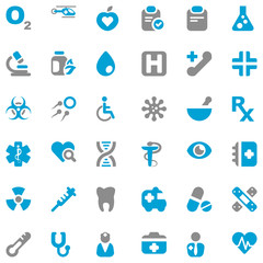 medical iconset blue & gray