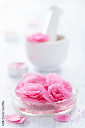 spa set with begonia flowers mortar and salt
