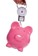 Piggy bank on weighing scales