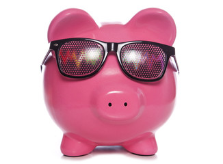 Piggy bank wearing Raving party glasses