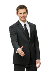 Half-length portrait of handshake gesturing businessman