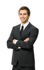 Half-length portrait of business man with crossed hands