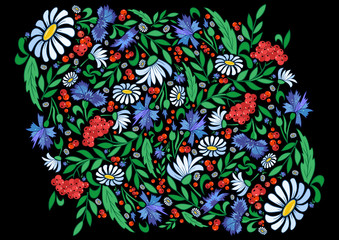 Illustration of abstract  flowers on dark background