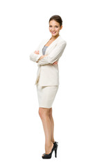 Full-length portrait of business woman with her hands crossed