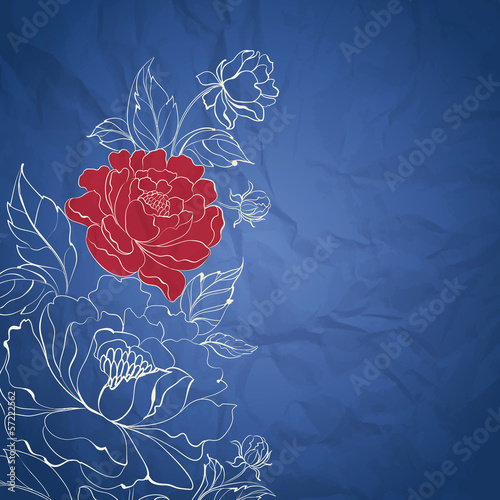 Blue postcard with peonies