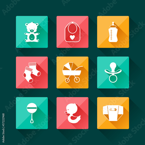 Newborn baby icons set in flat design style.