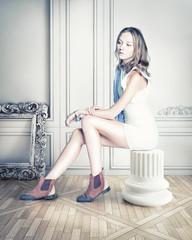 woman  in luxury interior