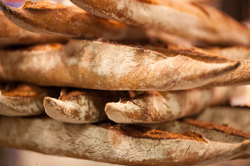 meli melo of baguette breads with thick crust