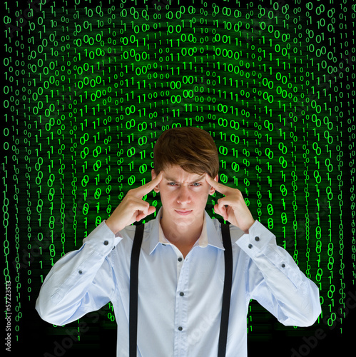 Businessman or teacher with binary on background